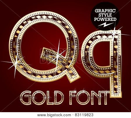 Vector set of gold rich alphabet with diamonds. Letter Q