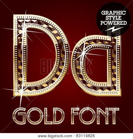 Vector set of gold rich alphabet with diamonds. Letter D