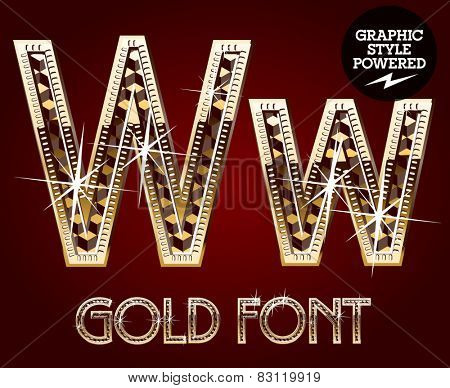 Vector set of gold rich alphabet with diamonds. Letter W