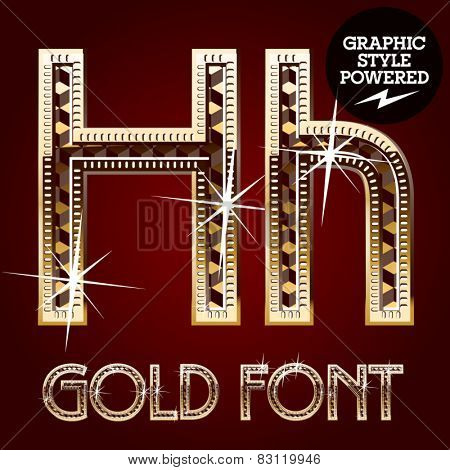 Vector set of gold rich alphabet with diamonds. Letter H