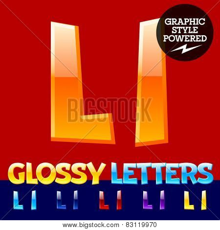 Vector set of glossy modern alphabet in different colors. Letter L. Also includes graphic styles