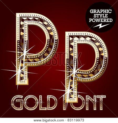 Vector set of gold rich alphabet with diamonds. Letter P