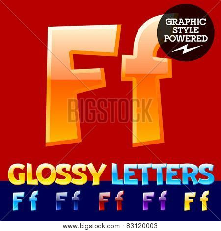 Vector set of glossy modern alphabet in different colors. Letter F. Also includes graphic styles