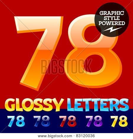 Vector set of glossy modern alphabet in different colors. Numbers 7 8. Also includes graphic styles