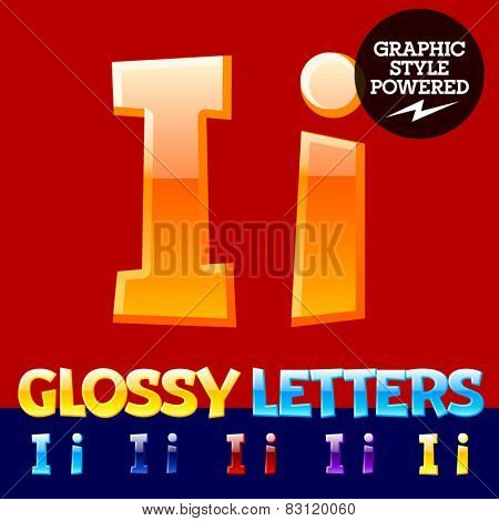 Vector set of glossy modern alphabet in different colors. Letter I. Also includes graphic styles
