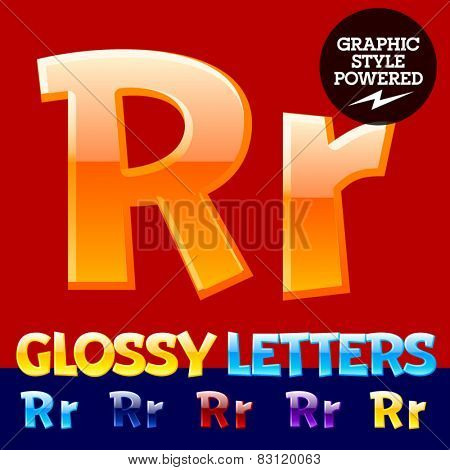 Vector set of glossy modern alphabet in different colors. Letter R. Also includes graphic styles