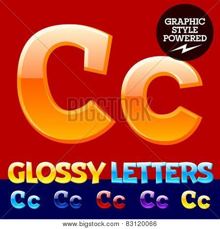 Vector set of glossy modern alphabet in different colors. Letter C. Also includes graphic styles