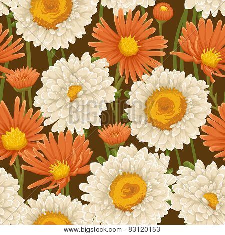 Floral pattern with white and orange flowers