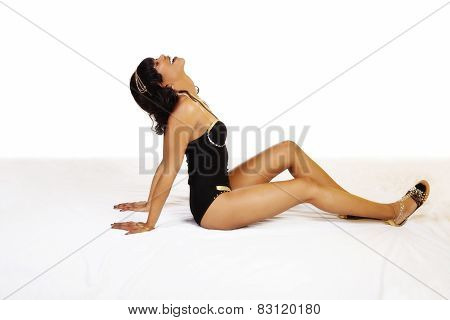 Attractive African American Woman Reclining Black Leotard