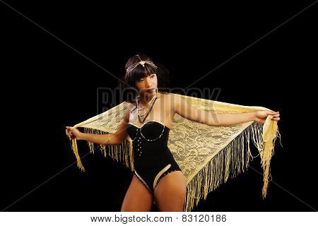 Attractive African American Woman Standing Leotard Shawl