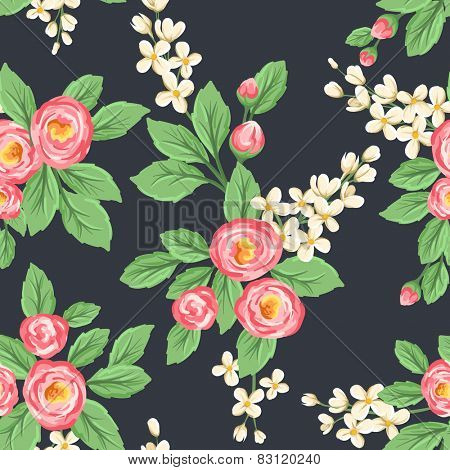 Floral seamless pattern with pink roses and small white flowers on dark grey background.