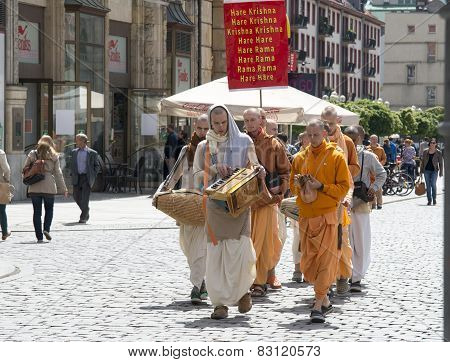Wroclaw, Poland - 18 2014: Members Of Hare Krishna Chanting And Dancing May 18, 2014 On Wroclaw In P