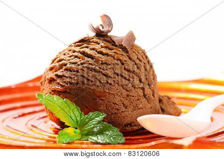 Scoop of chocolate ice cream
