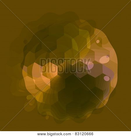 Abstract transparent golf ball shape on green background. Semitransparent wet hexagon texture.