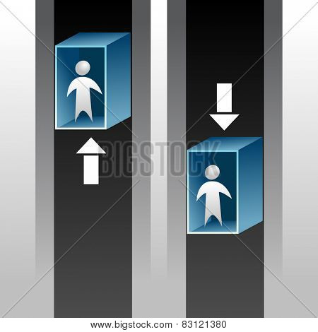 An image of abstract people riding an elevator up and down.