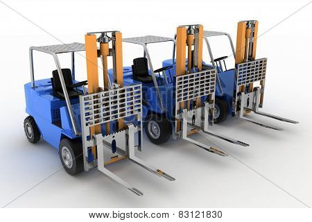 Three loaders without cargo. 3d image on a white background