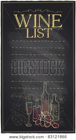 Chalkboard wine list with bottles of wine and place for text.
