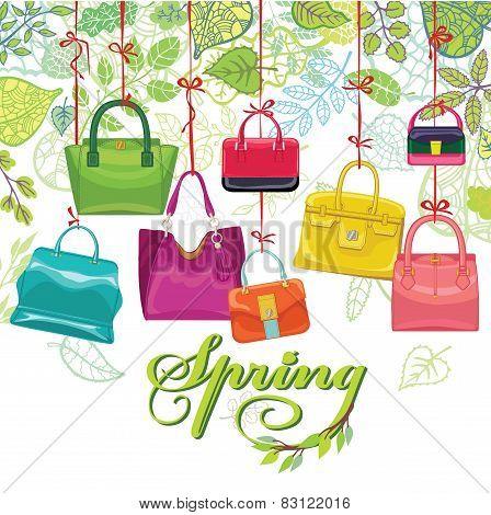 Fashionable colored womens handbags,spring leaves