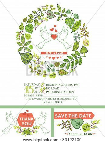 Wedding Invitation Template with Doves