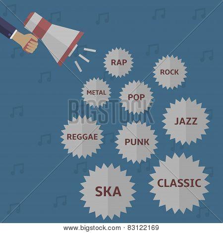 Music style icon set