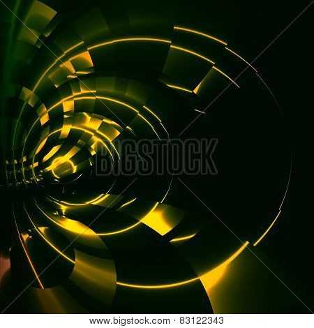 Green abstract futuristic tunnel background. Modern sci fi illustration. Digital artwork.