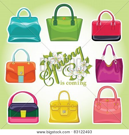 Coloured fashion women handbags.Spring is coming