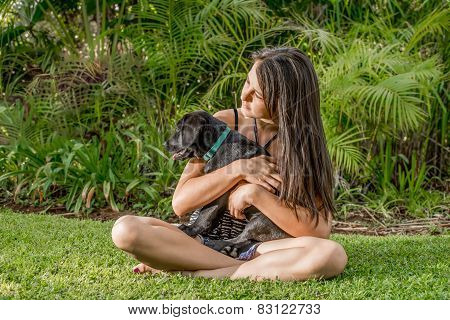 Teenage Girl With Puppy