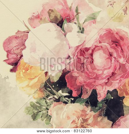 art grunge floral warm sepia vintage watercolor background with white, tea, purple and pink roses and peonies