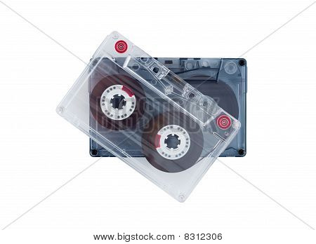 Old Audiocassettes Isolated On White Background.