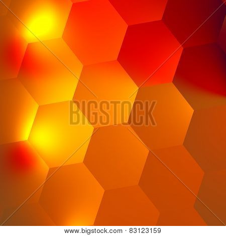Orange red abstract hexagons background. Bright light effect in dark. Honeycomb backdrop. Minimal.