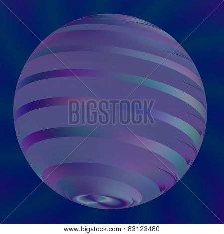 Blue ball illustration. Abstract modern 3d logo. Semitransparent effect. Geometric shape.