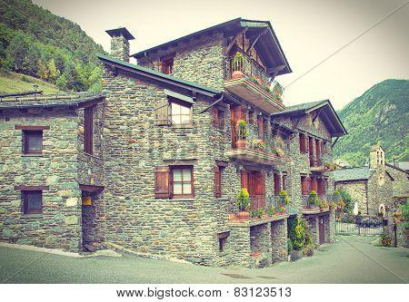 Typical Traditional Dark Brick Andorra Rural Houses - Postcard Look