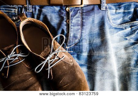 Vintage Style Shoes On Denim Jeans