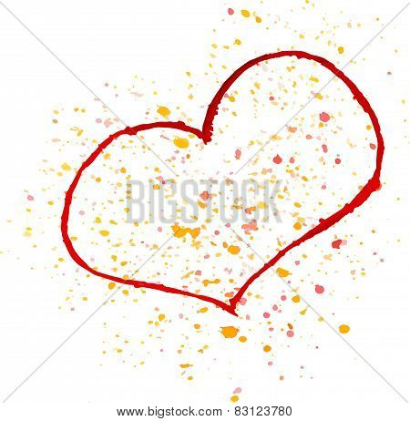 Watercolor red painted heart, vector element