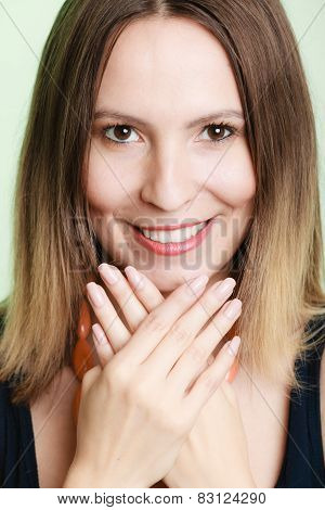 Lovely Shy Woman Lauging