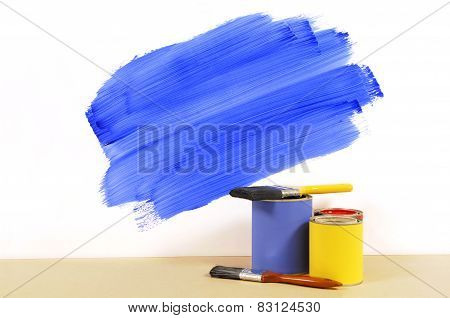 Partly Painted Blue Wall