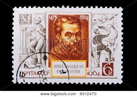 Russia - Circa 1964: A Stamp Michelangelo