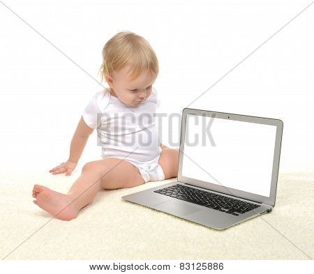 Child Baby Girl Toddler Sitting Near Modern Wireless Computer Laptop