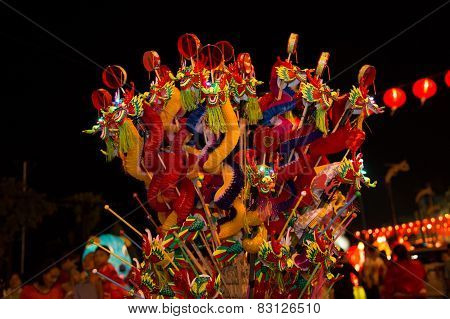 Chinese Lantern with dragon background in Chinese New year