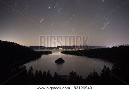 Long Exposure Night Sky Emerald Bay Fannette Island Lake Tahoe