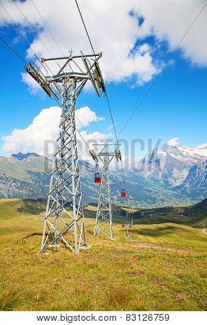 Cable car on the top of Mannlichen (Jungfrau region, Bern, Switzerland)