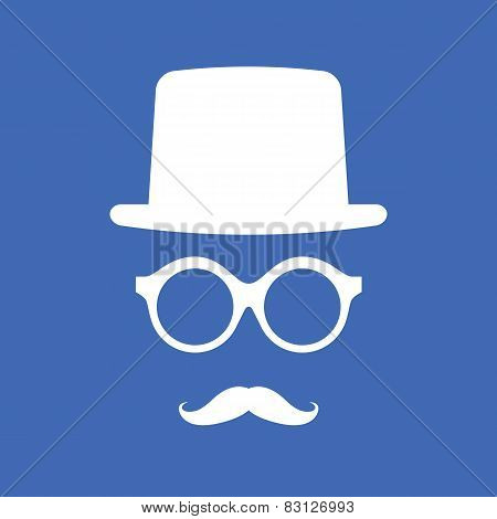 Hat, Eyeglasses And Mustache White Graphic On Blue Background.