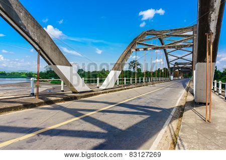 Historical Bridge Over The River With Shade