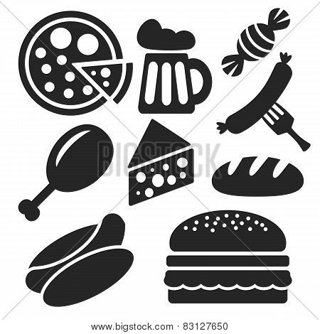 Set Of Food Web And Mobile Icons. Vector.
