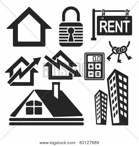 Set Of Real Estate Web And Mobile Icons. Vector.