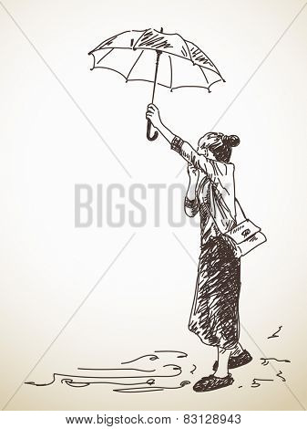 Sketch of girl with umbrella Vector illustration