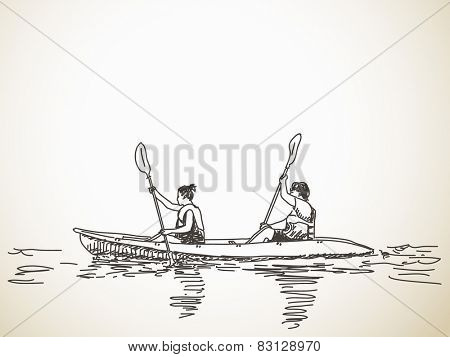 Sketch of kayaking people, Hand drawn Vector illustration