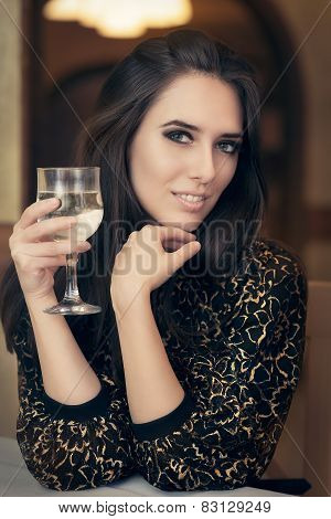Beautiful Elegant  Woman Holding a Drink