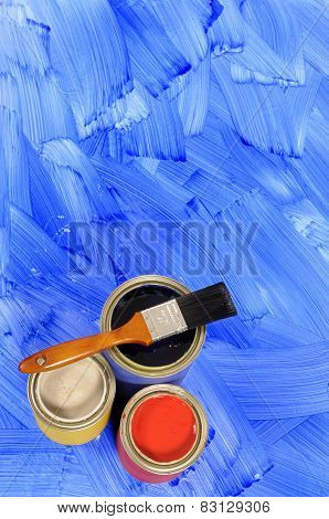 Blue Painted Floor With Paint Tins