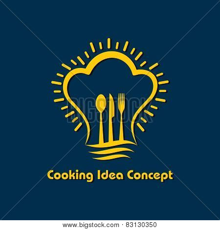 Cooking idea concept. cutlery and chef hat in light bulb shape